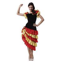 Spanish Senorita Rumba Salsa Flamenco Dancer Dance Ladies Fancy Dress Costume