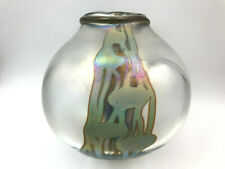 NICK DELMATTO IRREDESCENT HANDCRAFTED STUDIO ART GLASS VASE SIGNED DATED 1986