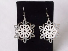 SNOWFLAKE Natural Wood Dangle Earrings-Custom Painted by Pizazz Creations