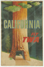 1950's California Fly TWA Advertising Poster 11x17 David Klein, Drive Thu Tree