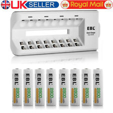 EBL 8 x AA 2800mAh Ni-MH Rechargeable Batteries + 8 channel Fast Battery Charger