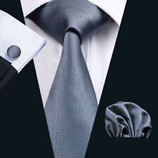 C-386 Classic Gray Tie Plain Color Silk Necktie Gift Set Hankerchief Cufflinks