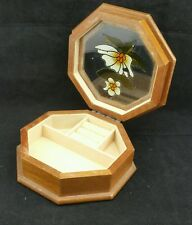 Wooden Octagonal Jewellery Box, Brown Interior, with Glass Lid 16.5cm across