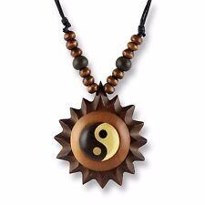 Halskette Anhänger Holz Amulett 5cm Ying Yang Design längenverstellbar N291