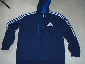 ADIDAS FULL ZIP HOODIE TRACK TOP TRACKSUIT JACKET NAVY BLUE SIZE XL XLARGE ADULT