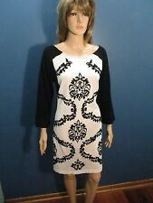 XL black/white DEMASK PRINT 3/4 LENGTH SLEEVE SWEATER dress by YOUNG THREADS