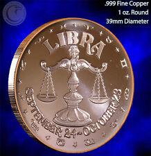 Libra Horoscope Collection 1 oz .999 Copper Round