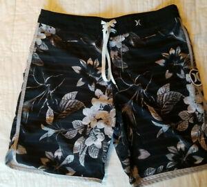 "Hurley Mens Phantom 20"" Board Shorts Gray/Black/White Floral Size 32"