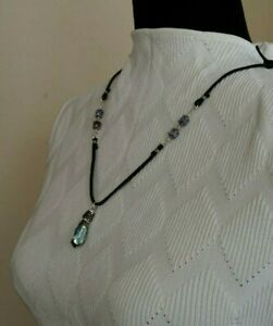Agate and Iridescent Stone Leather Necklace Inspired by Sundance Catalog