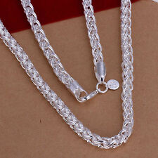 """Free Shipping Sterling 925 Solid Silver Fashion 6mm*20"""" Men's Chain Necklace"""