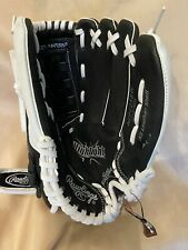 """NWD 12.5"""" Rawlings Highlight Series Leather SOFTBALL glove RHT righty black whit"""