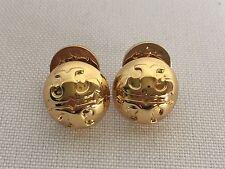 NWT Tory Burch Domed Logo 16k Gold Plated Women Stud Earrings