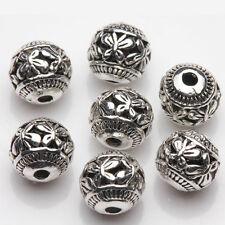 10Pcs Tibetan Silver Hollow Beads Butterfly Round Spacer Beads Craft DIY