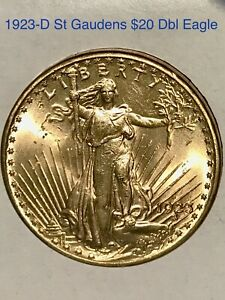 BEAUTIFUL ESTATE FIND 1923-D $20 ST GAUDENS DOUBLE EAGLE GOLD