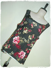 Ambiance Apparel Floral Rose Lace Yoke Pleated Back Tank Top 3X