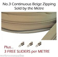NO.3 CONTINUOUS CHAIN ZIP BY THE METRE PLUS 3 FREE SLIDERS PER METRE