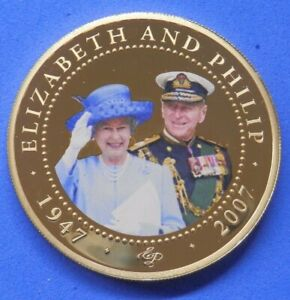 Prince Philip and Queen Elizabeth 60th Anniversary Cook Islands Proof $1 2007