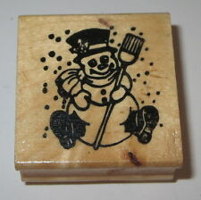 Snowman Broom Rubber Stamp Winter Snowing Top Hat Scarf Boots Gloves Buttons