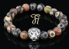 Tibet Achat - silberfarbener Löwenkopf - Armband Bracelet Perlenarmband