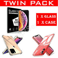 Clear Case Glass Screen Protector For iPhone 12 11 Pro Max XR Soft TPU Cover