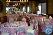 """6 Rosette Satin Tablecloths 90"""" Round 22 Color Ribbon Rose Table Overlay Wedding"""