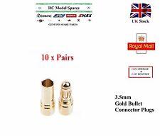 10 Pairs 3.5mm Gold Bullet Banana Connector Plugs For ESC Motors LiPo Battery UK