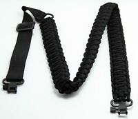 "Rifle Adjustable Paracord Sling with 2 1"" Metal Swivels Extra Wide Strap"