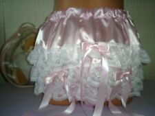 SISSY ADULT BABY DEEP LACE RUFFLE PANTS PINK SATIN PLASTIC LINED VERY NOISY 38""