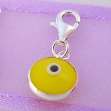 9mm YELLOW EVIL EYE PROTECT CLIP CHARM STERLING SILVER