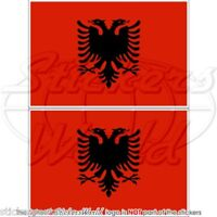 "ALBANIA Albanian Flag 75mm (3"") Bumper Sticker-Decal x2"
