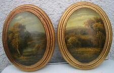2 Ölbild oval gewölbt Wandbild Natur-Bäume-See-Landschaft Nostalgie-Stil 22x18x5