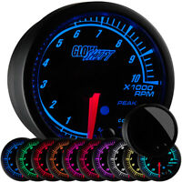 52mm Black Elite 10 Color Tachometer Gauge w Peak Tacho Recall & Warning