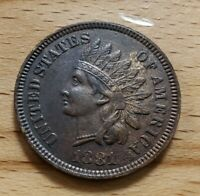 1881 1c INDIAN HEAD SMALL CENT, NICE HIGH GRADE COIN! LOT#M925