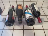 ancien casier 4 bouteilles en bois peint en gris-old bottles rack-home staging
