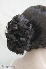 Dark Brown mix Auburn Short Curly Wavy claw clip ponytail hair pieces wig TLF018