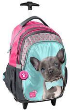 Zaino Trolley Scuola Studio Pets Cane Bulldog Francese Nero,Ragazza,Bambina,Paso