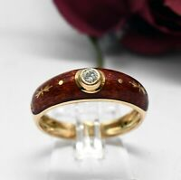 Victor Mayer by Faberge 750 Gold mit Emaille Brillant Ring Rot Brillantring