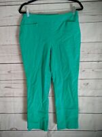 Chico's So Slimming Brigitte Slim Leg Green Crop Pants US Size 6/Chicos Size 0.5