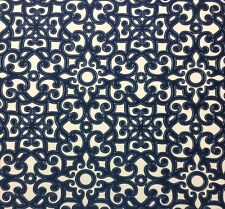"BALLARD DESIGNS BRINDISI BLUE EMBROIDERED SCROLL DESIGNER FABRIC BY YARD 54""W"