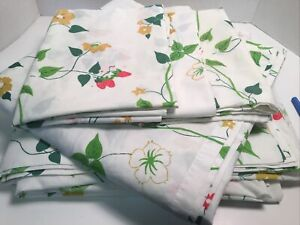 Vintage JC Penney Strawberry King Sheet Set Retro 5 Piece Percale Fashion Manor
