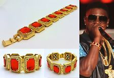 MENS HIP HOP RAPPERS STYLE YELLOW GOLD FINISH RED RUBY BRACELET GOLD