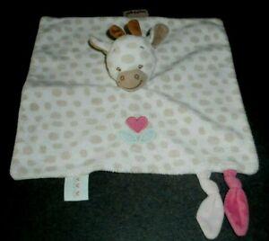 Doudou Plat Girafe Charlotte Taches Beige Marron Cœur Rose Fleur Nattou