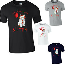 Kitten IT Pennywise T-Shirt IT Balloons Halloween Horror Creepy Scary Meow Top