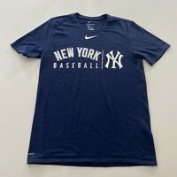 Nike New York Yankees Baseball T-Shirt Mens Size S Blue Dri Fit Swoosh