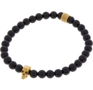 NORTHSKULL Men's Bracelet Onyx Stretch Beads wt Gold Plaited Skull BNIB RRP £155