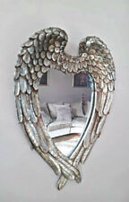 Home Zone Vintage Antique Style Distressed Silver Angel Wings Wall Mirror