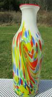"""MURANO 1950's MURRINE Rd-Yl-Or-Bl-Gn-Wh. SPLATTER ART GLASS 11.25""""H x 5'W  Vase*"""
