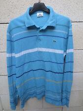 Polo LACOSTE Devanlay bleu clair rayures manches longues coton jersey M