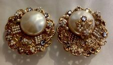 MASSIVE MIRIAM HASKELL BAROQUE AND SEED PEARL FILIGREE EARRINGS