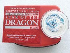 2012-P Australia ANA Lunar Dragon White $1 One Dollar Silver 1oz Coin Box Coa